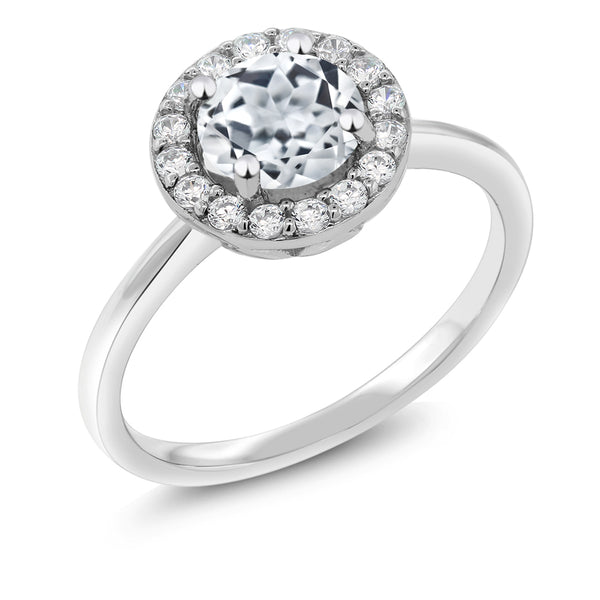 925 Sterling Silver 1.60 Ct Round White Topaz Women's Halo Engagement Ring