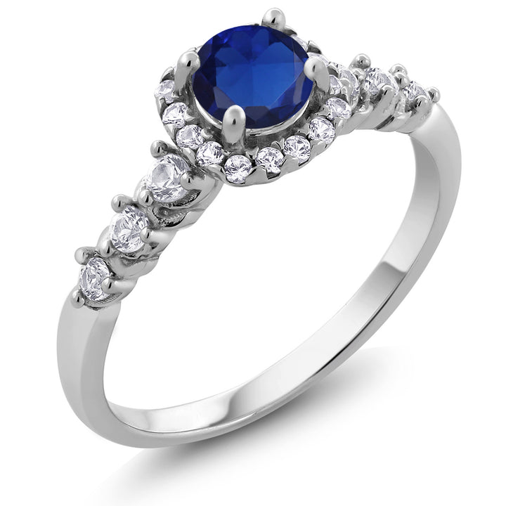 Gem Stone King 0.97 Ct Round Blue Simulated Sapphire White Created Sapphire 925 Sterling Silver Ring
