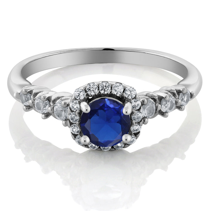 0.97 Ct Simulated Sapphire and White Created Sapphire 925 Silver Engagement Ring