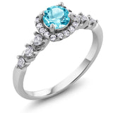 Gem Stone King 1.02 Ct Round Swiss Blue Topaz and White Created Sapphire 925 Sterling Silver Ring