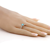 1.02 Ct Round Swiss Blue Topaz White Created Sapphire 925 Silver Engagement Ring