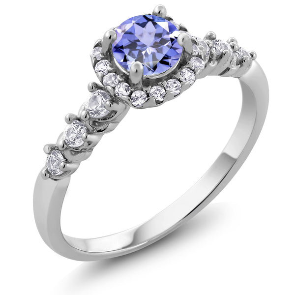 0.88 Ct Tanzanite and White Created Sapphire 925 Sterling Silver Engagement Ring