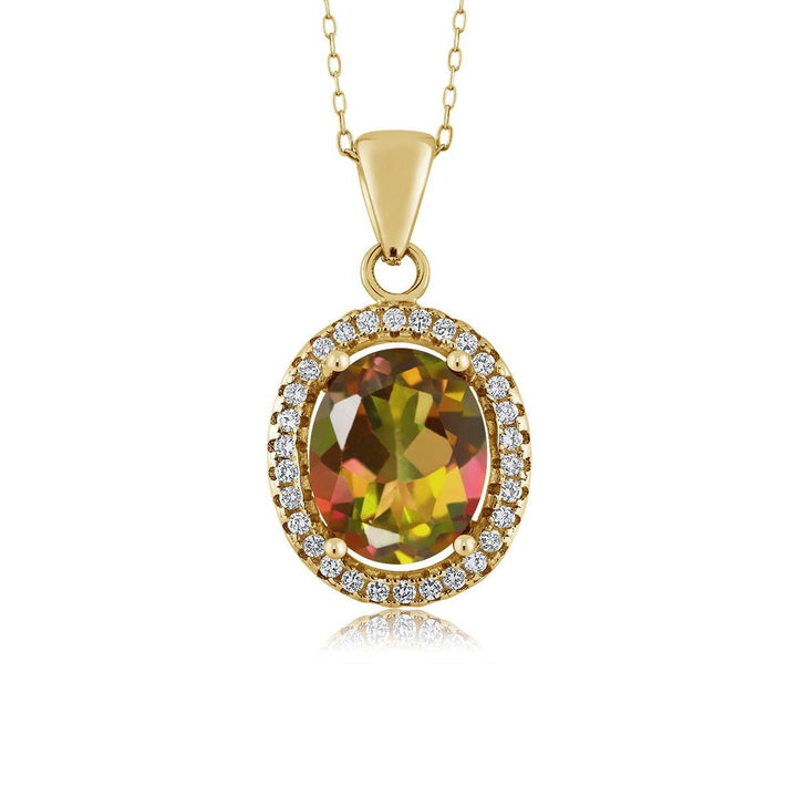 Gem Stone King 4.90 Ct Oval Mango Mystic Topaz 18K Yellow Gold Plated Silver Pendant