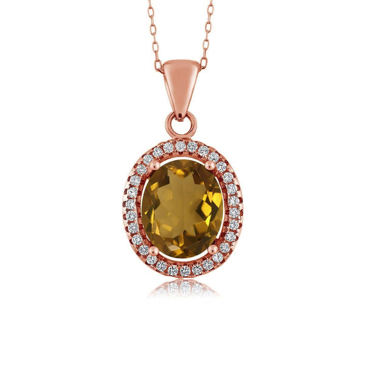 Gem Stone King 3.40 Ct Oval Whiskey Quartz 18K Rose Gold Plated Silver Pendant