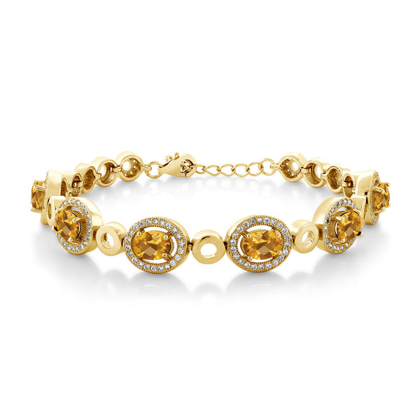 6.12 Ct Oval Checkerboard Yellow Citrine 18K Yellow Gold Plated Silver Bracelet