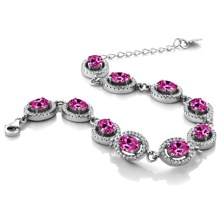 "11.88 Ct Oval Pink Created Sapphire 925 Sterling Silver 7.5"" Bracelet"