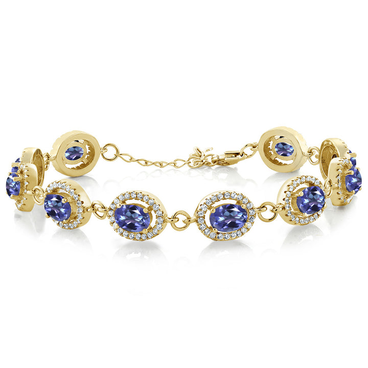 "Gem Stone King 12.38 Ct Purple Blue Mystic Topaz 18K Yellow Gold Plated Silver 7.5"" Bracelet"