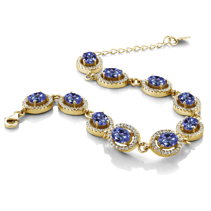 "10.88 Ct Oval Blue Mystic Topaz 18K Yellow Gold Plated Silver 7.5"" Bracelet"