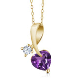 Gem Stone King 1.01 Ct Heart Shape Purple Amethyst 18K Yellow Gold Plated Silver Pendant