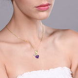 1.01 Ct Heart Shape Purple Amethyst 18K Yellow Gold Plated Silver Pendant
