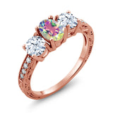 Gem Stone King 2.42 Ct Mercury Mist Mystic Topaz 18K Rose Gold Plated Silver Ring