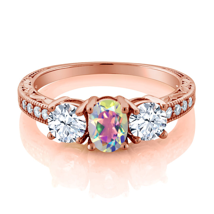 2.60 Ct Oval Mercury Mist Mystic Topaz 18K Rose Gold Plated Silver Ring