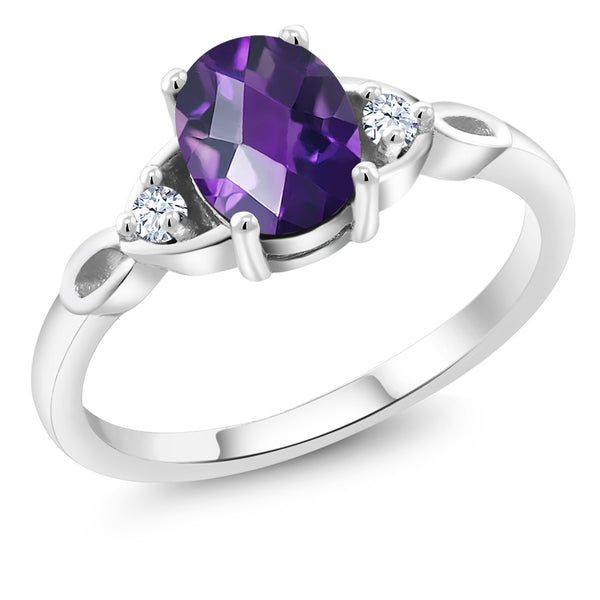 925 Sterling Silver 1.26 Ct Oval Checkerboard Purple Amethyst Engagement Ring