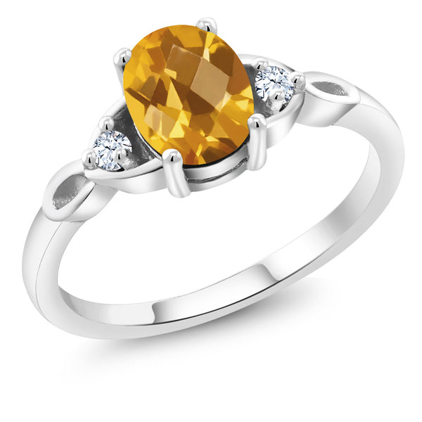 925 Sterling Silver 1.31 Ct Oval Checkerboard Yellow Citrine Engagement Ring