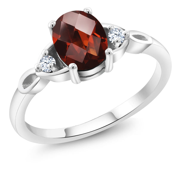 925 Sterling Silver 1.59 Ct Oval Checkerboard Garnet Solitaire Engagement Ring