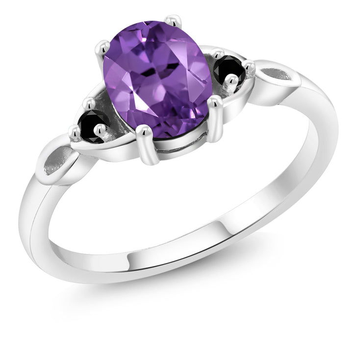Gem Stone King 1.07 Ct Oval Purple Amethyst Black Diamond 925 Sterling Silver Three Stone Ring