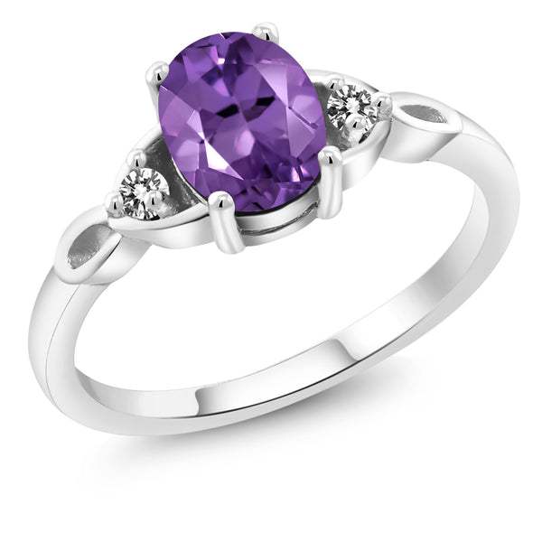 925 Sterling Silver 1.22 Ct Oval Purple Amethyst White Diamond Engagement Ring
