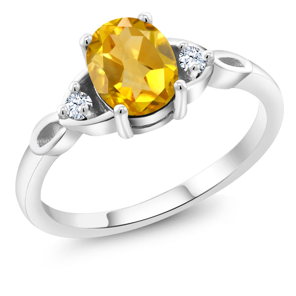 925 Sterling Silver 1.36 Ct Oval Yellow Citrine Solitaire Engagement Ring