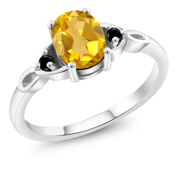 925 Sterling Silver 1.37 Ct Oval Yellow Citrine Black Diamond Engagement Ring