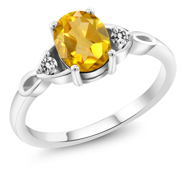 925 Sterling Silver 1.37 Ct Oval Yellow Citrine White Diamond Engagement Ring