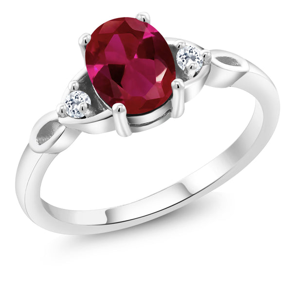 925 Sterling Silver 1.58 Ct Oval Red Created Ruby White Topaz Engagement Ring