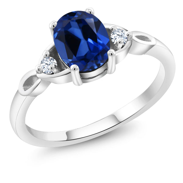 925 Sterling Silver 1.66 Ct Oval Simulated Sapphire Solitaire Engagement Ring