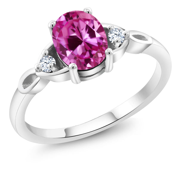 925 Sterling Silver 1.71 Ct Oval Pink Created Sapphire Solitaire Engagement Ring