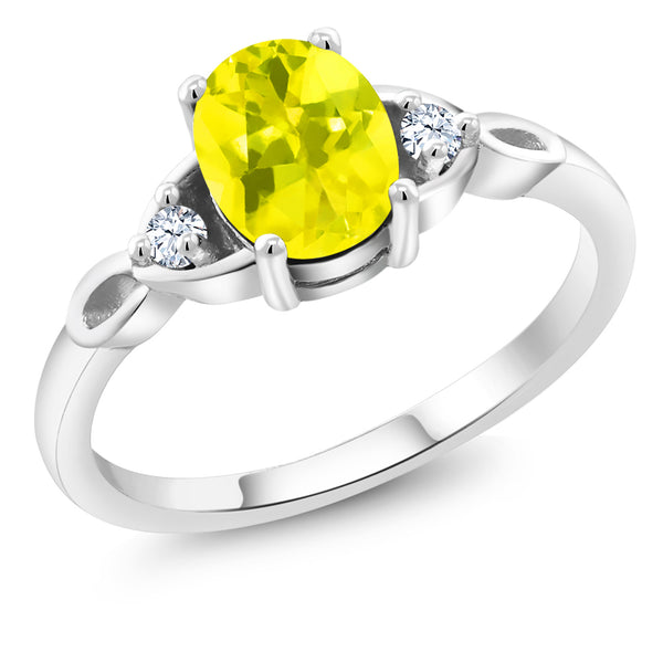 925 Sterling Silver 1.59 Ct Oval Canary Mystic Topaz Solitaire Engagement Ring