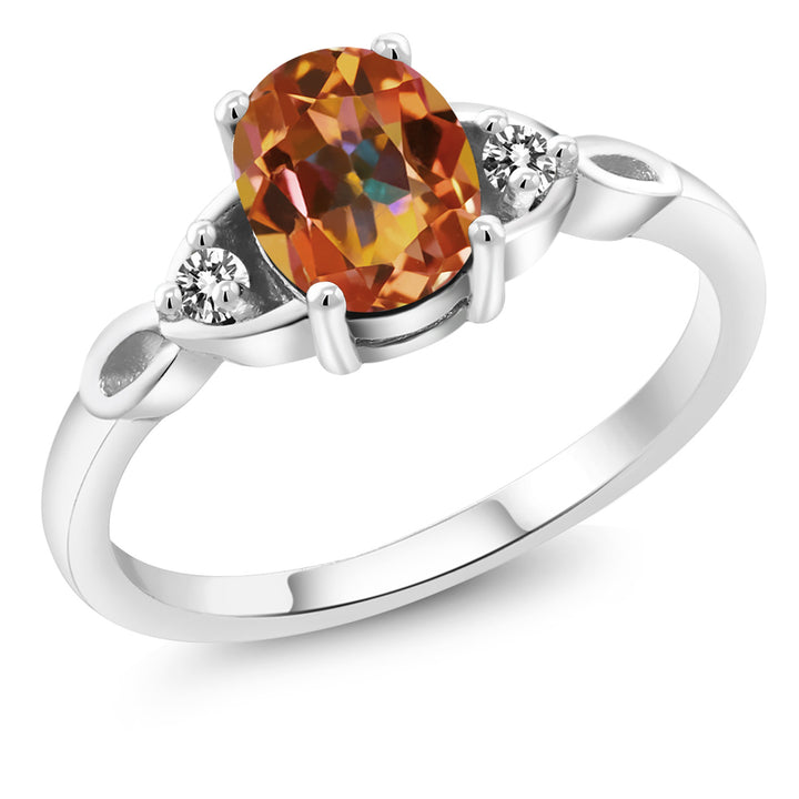 Gem Stone King 1.37 Ct Oval Ecstasy Mystic Topaz White Diamond 925 Sterling Silver Three Stone Ring
