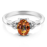 1.57 Ct Oval Ecstasy Mystic Topaz White Diamond 925 Sterling Silver Ring