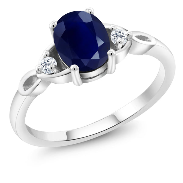 925 Sterling Silver 1.88 Ct Oval Blue Sapphire with White Topaz Engagement Ring