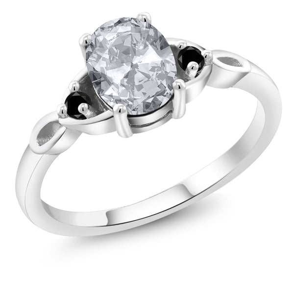 925 Sterling Silver 1.57 Ct Oval White Topaz with Black Diamond Engagement Ring