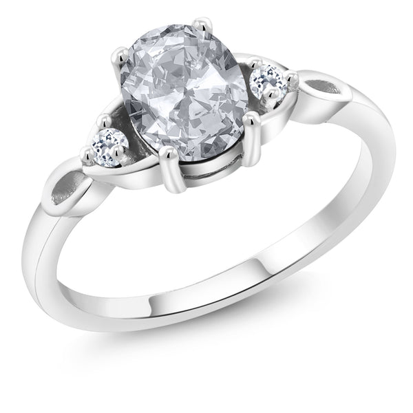 925 Sterling Silver 1.58 Ct Oval White Topaz Solitaire Engagement Ring