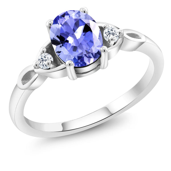 925 Sterling Silver 1.24 Ct Oval Blue Tanzanite with White Topaz Engagement Ring