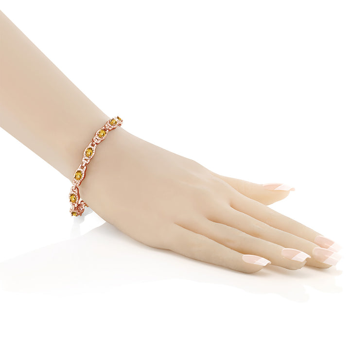 8.00 Ct Oval Citrine 18K Rose Gold Plated Silver Bracelet With 1 Inch Extender