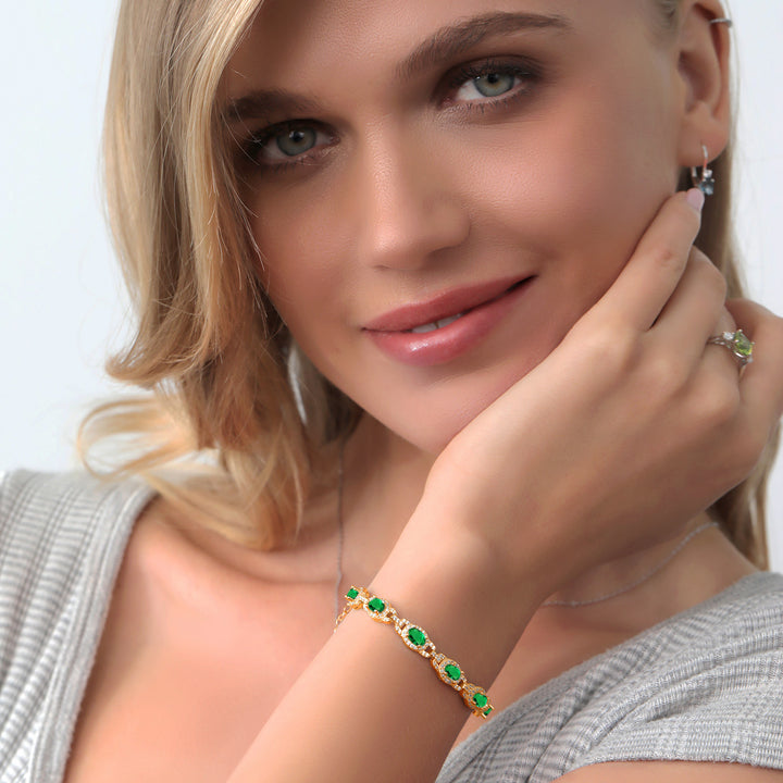 "8.00 Ct Simulated Emerald 18K Yellow Gold Plated Silver Bracelet + 1"" Extender"