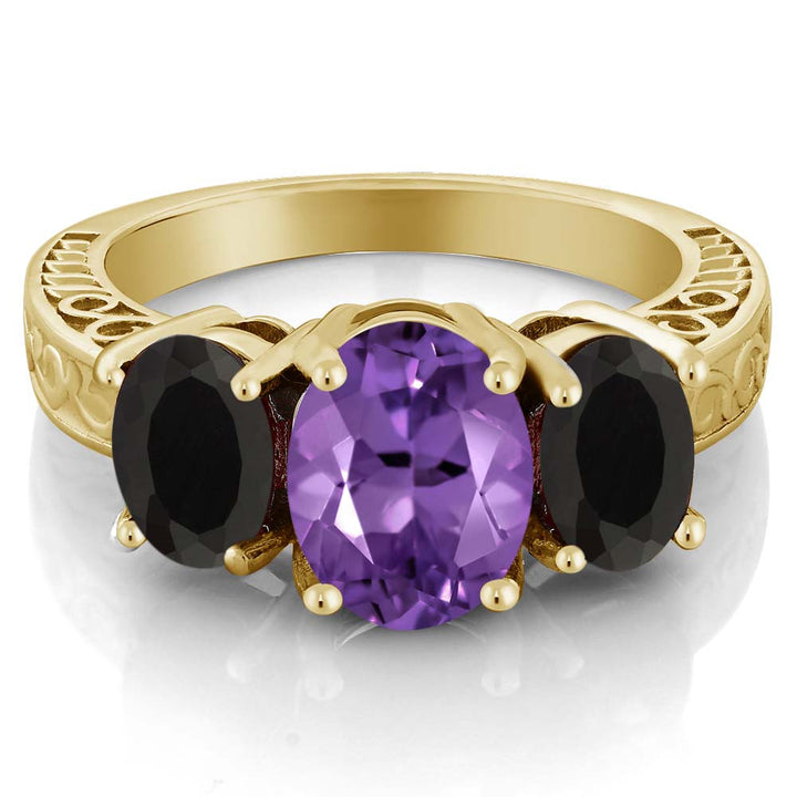 3.26 Ct Oval Purple Amethyst Black Onyx 18K Yellow Gold Plated Silver Ring
