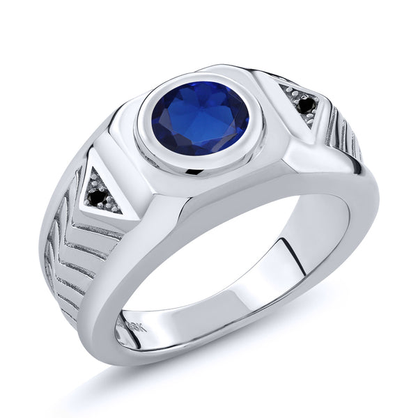 2.53 Ct Round Blue Simulated Sapphire Black Diamond 925 Silver Men's Ring