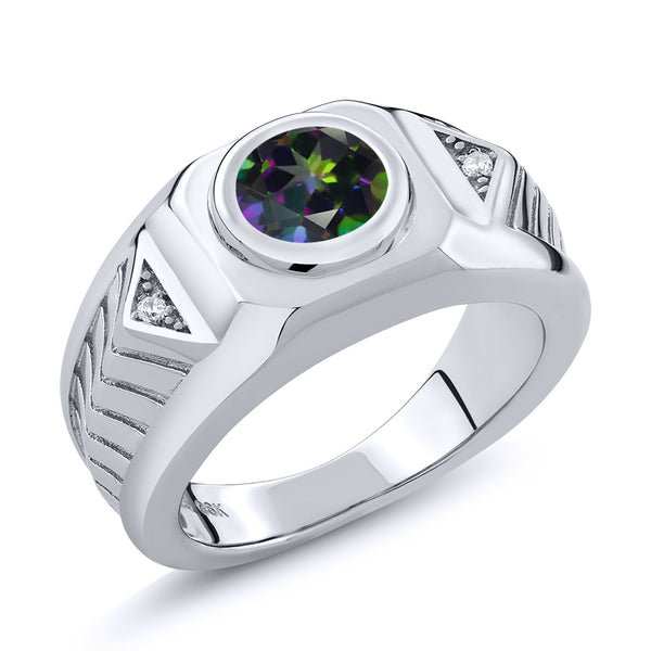 2.73 Ct Round Green Mystic Topaz 925 Sterling Silver Men's Ring