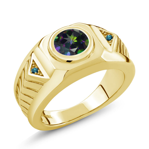2.03 Ct Green Mystic Topaz Blue Diamond 18K Yellow Gold Plated Silver Men's Ring
