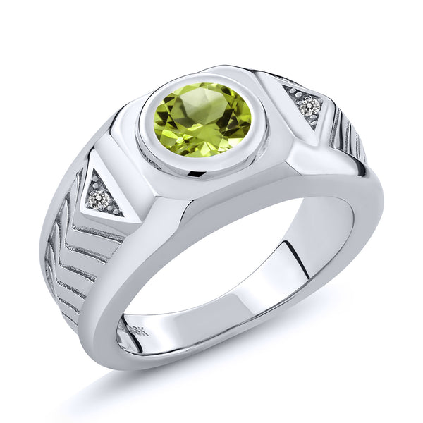 1.95 Ct Round Green Peridot White Diamond 925 Sterling Silver Men's Ring