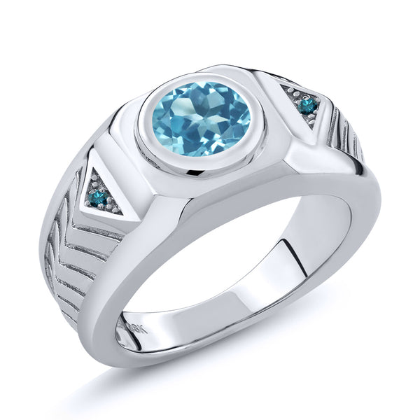 2.23 Ct Round Swiss Blue Topaz Blue Diamond 925 Sterling Silver Men's Ring