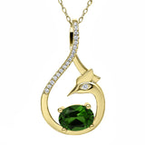 Gem Stone King 1.42 Ct Oval Green Chrome Diopside 18K Yellow Gold Plated Silver Pendant