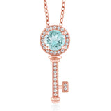 Gem Stone King 1.57 Ct Round Sky Blue Topaz 18K Rose Gold Plated Silver Key Pendant