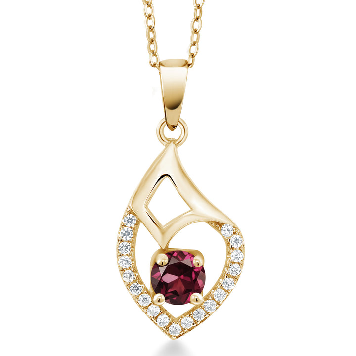 Gem Stone King 0.83 Ct Red Rhodolite Garnet 18K Yellow Gold Plated Silver Pendant