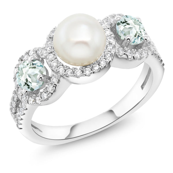 1.24 Ct Round Cultured Freshwater Pearl Sky Aquamarine 925 Silver Women's Ring