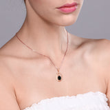 1.39 Ct Oval Black Onyx 18K Rose Gold Plated Silver Pendant