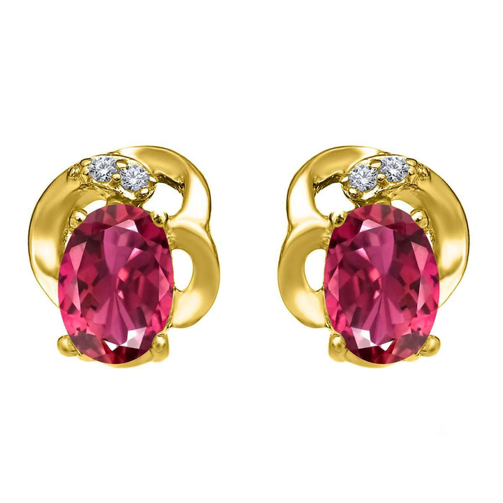 Gem Stone King 1.05 Ct Oval Pink Tourmaline 18K Yellow Gold Plated Silver Earrings