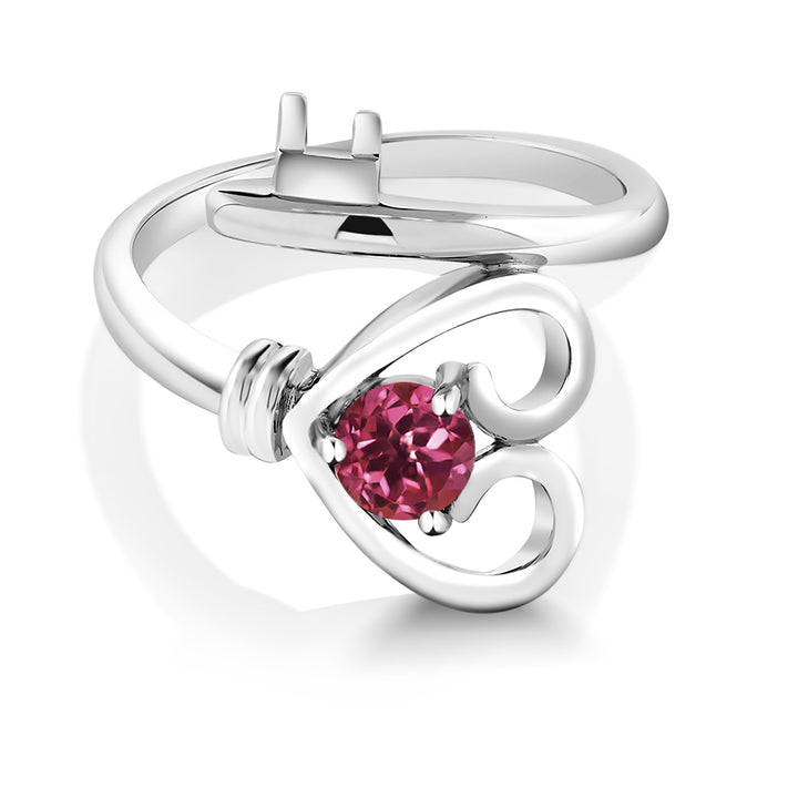 0.50 Ct Round Pink Tourmaline 925 Sterling Silver Heart Key Ring