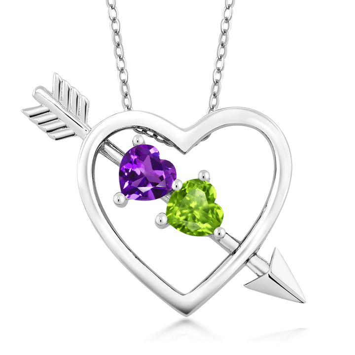 Gem Stone King Purple Amethyst and Green Peridot 925 Sterling Silver Heart & Arrow Women's Pendant Necklace 0.90 Ct with 18 Inch Silver Chain
